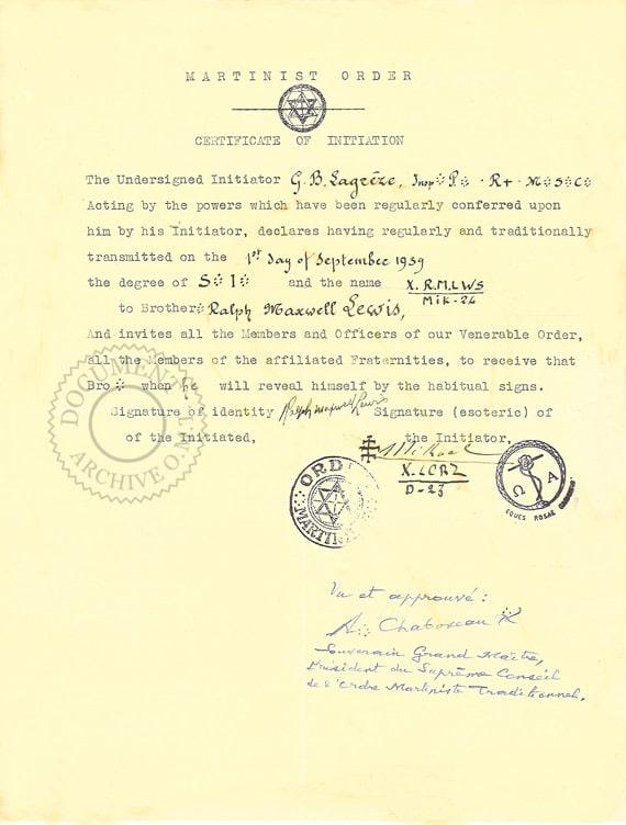 Certificat d'initiation de Ralph Maxwell Lewis
