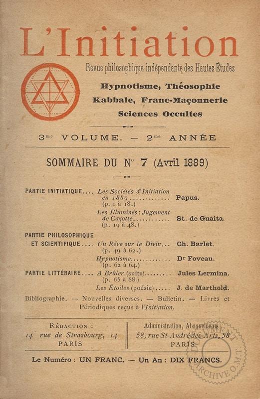 Couverture revue Initiation de 1889