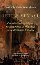 Bibliographie : Louis-Claude de Saint-Martin : Lettre à un ami