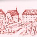 Le collège de Porrentruy où enseigna l'abbé Delanouë, d'après une gravure ancienne